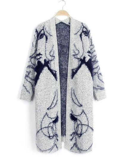 Long Sleeve Collarless  Jacquard Cardigans