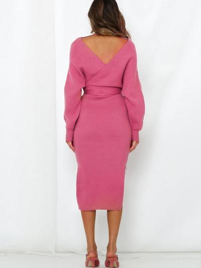 Sexy women plain knit long sleeve tie waist bodycon dresses
