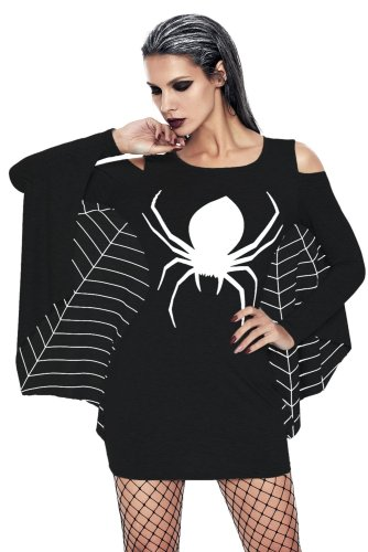 Women Halloween Floral Spider Long sleeve suit