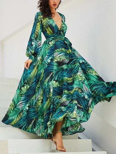 Summer V Neck Long Sleeve Chiffon Printed Leaf Maxi Vacation Dress