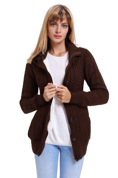 Fashion Knit Single-breasted   Hoodies & Sweatshirts