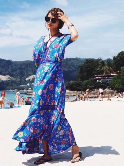 Pretty Floral V-neck V-back Maxi Dresses