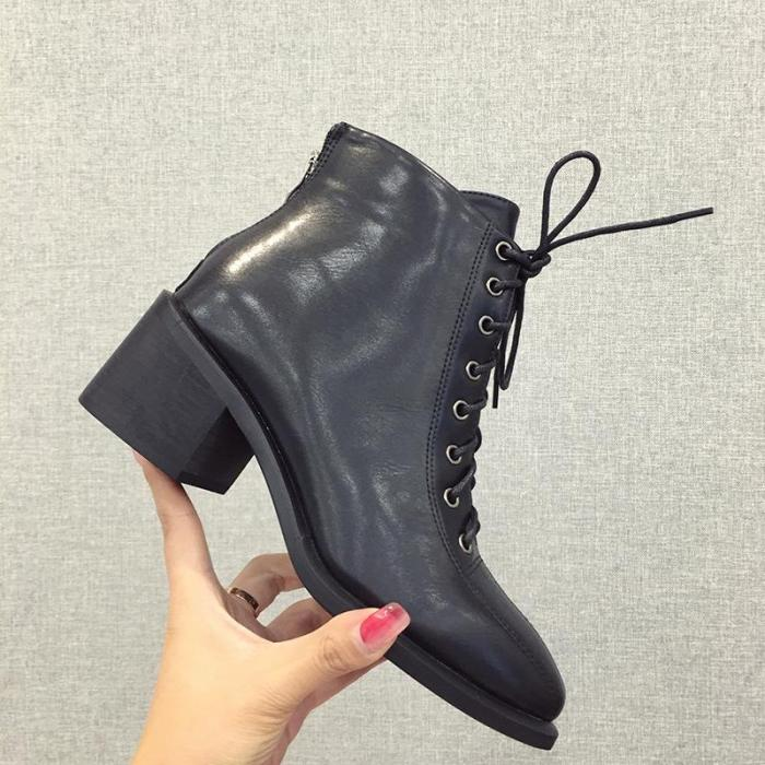 New Round Toe Lace Chunky Boots
