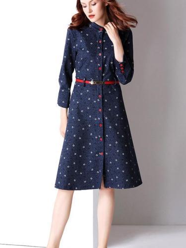 New Autumn  Long sleeve Jean Floral Lace Blouses Skater Dresses