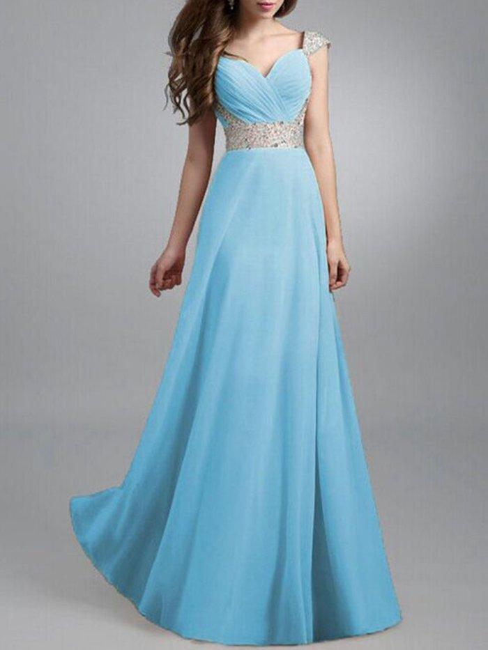 Sweet Heart Sequin Chiffon Evening Dress