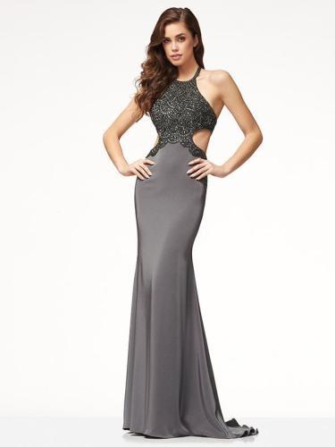Halter Neck Backless Floor Evening Dress