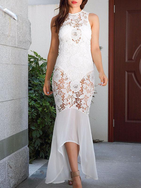 Lace Hollow Halterneck Mermaid Evening Dress