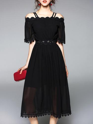 Black Hollow Slim Fit Midi Dress