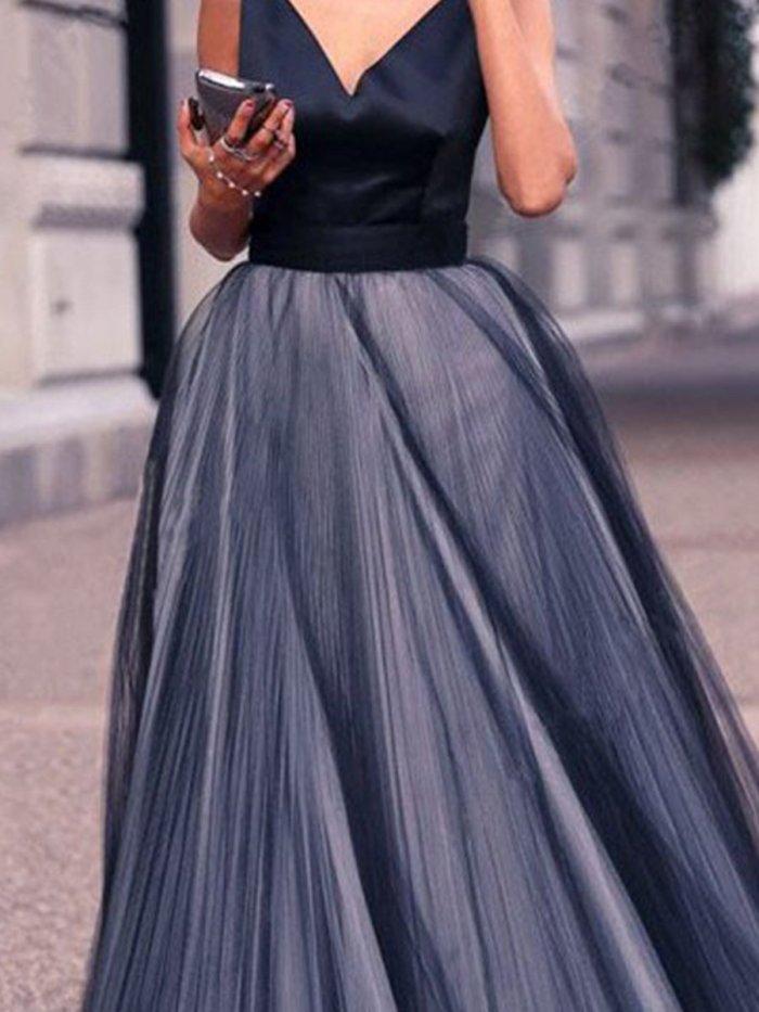 Black V Neck Woman Sexy Elegant With Bowknot Evening Dress