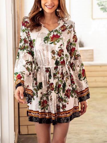Long sleeve V neck Floral Elastic waist Shift Dresses