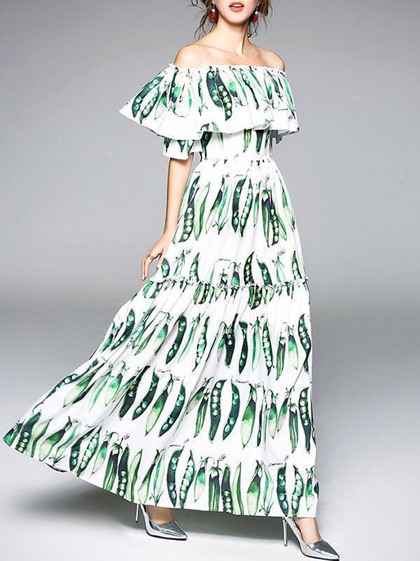 Elegant Split-joint Falbala Sleeves Maxi Dress