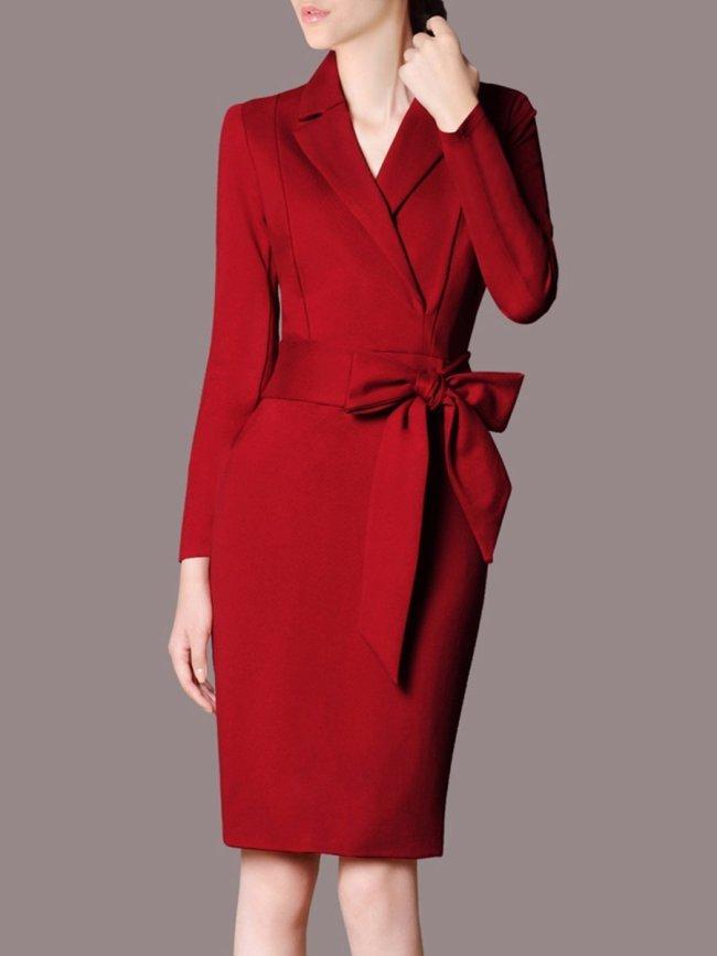 Lapel Bowknot Plain Pocket Bodycon Dress