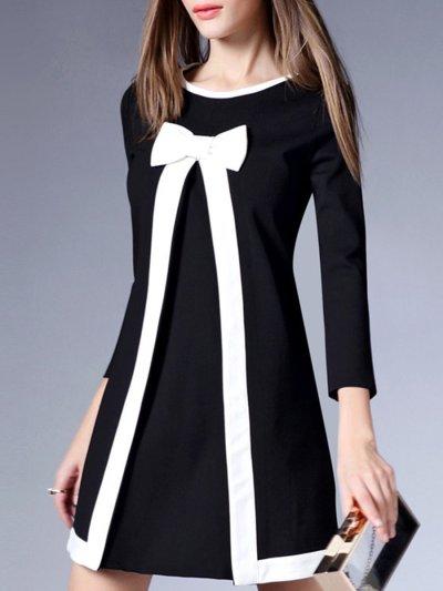 Cute Color Block Bowknot Mini Shift Dress
