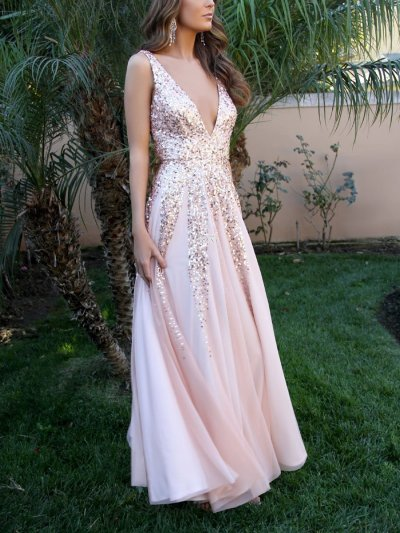 Deep V Neck Sexy Elegant Long Woman Evening Dresses
