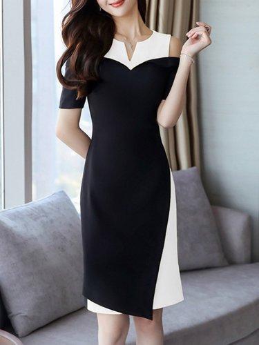 Round Neck  Color Block Bodycon Dress