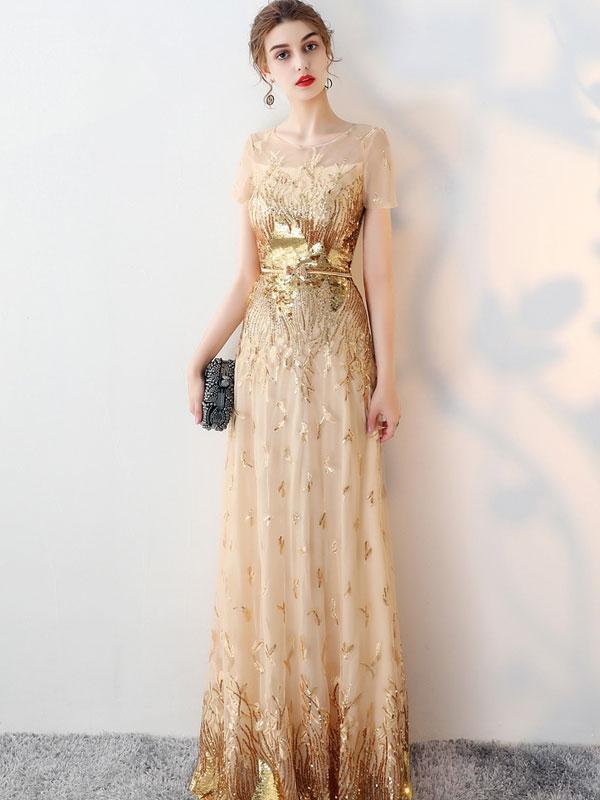 Printing Sequined Contrast O-Neck Short Sleeves Sheath Dresses