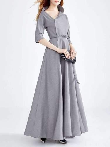 Fashion Stand neck Long sleeve Belt Evening Dresses