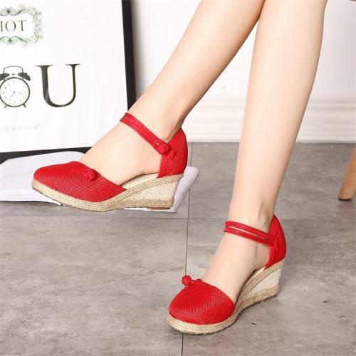Women's Sandals Wedges Casual Comfort Foreign Trade Tip Hemp Buckle Female Sandals