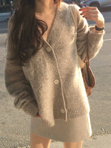 V-Neck Long Sleeve Buttoned Casual Sweater