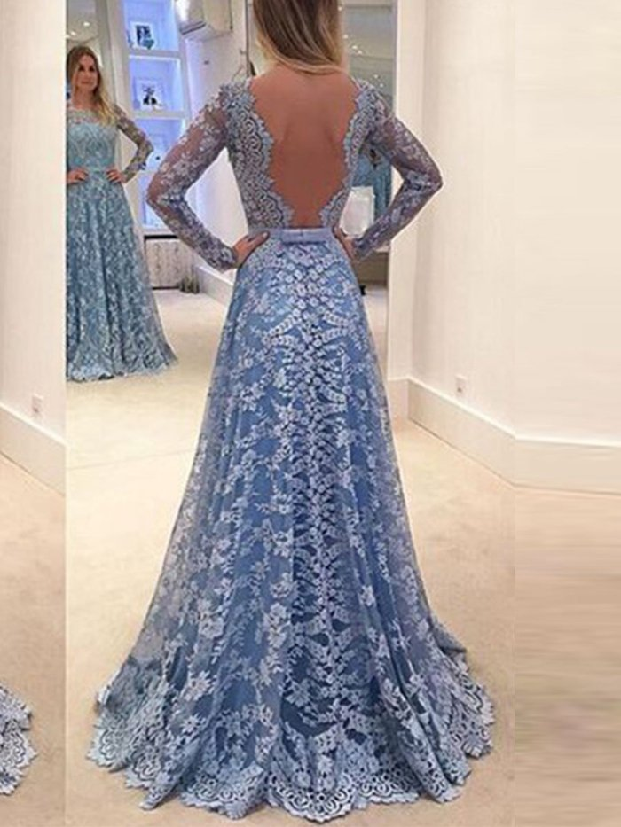 Plus Size Lace Elegant Woman Backless Evening Dress
