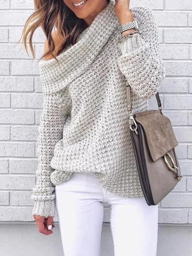 Plain high collar one off shoulder two wear knitted sweaters