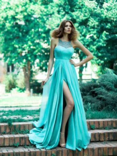 Backless Split-joint Floor Evening Dress