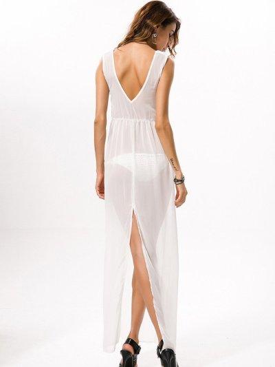 Pretty Chiffon Sleeveless V Neck Side Split Beach Maxi Dress