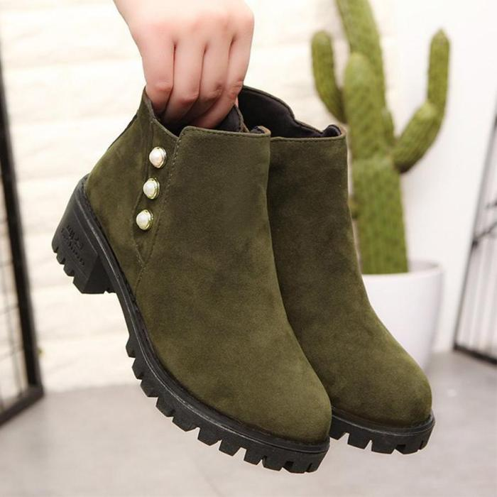 Plain  Chunky  Low Heeled  Velvet  Round Toe  Date Ankle Boots