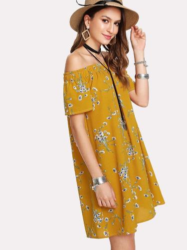 Calico Print Bardot Dress