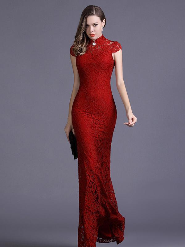 Elegant Cap Sleeve High Collar Mermaid Dress Evening Dress