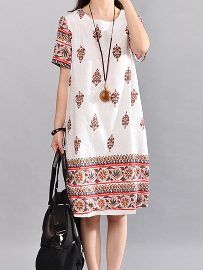 Round Neck Tribal Printed Shift Dress