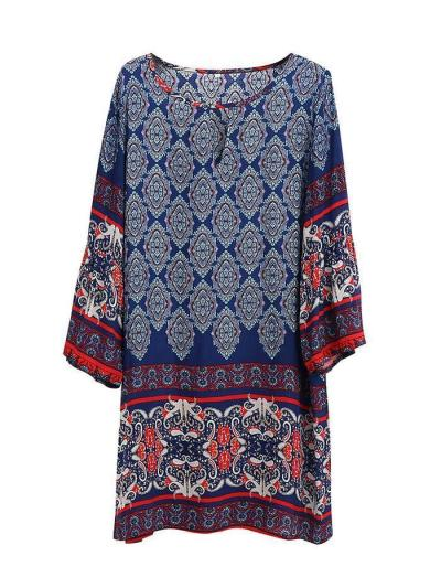 Classical Navy Blue Bohemia Long Sleeve Round Neck Mini Dress