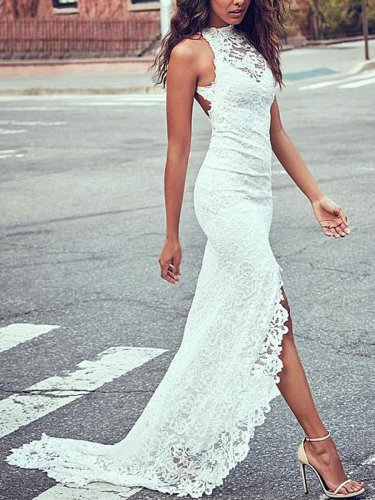 Lace Mermaid Slim Fit Sleeveless Backless Evening Dress