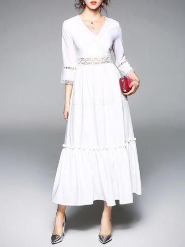 Hollow Split-joint V-neck Maxi Dress