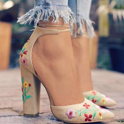 Female Scrub Embroidery Front Tie Thick Heel Pointed Toe Pumps