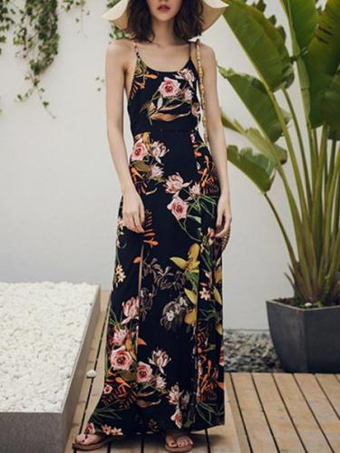 Bohemia Floral Backless Maxi Dress