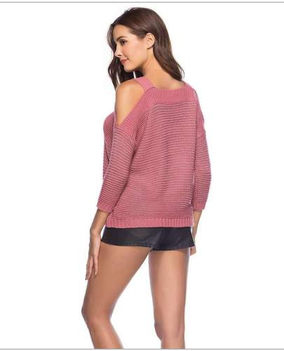 Sexy Knit Off shoulder Long sleeve Vest Sweaters