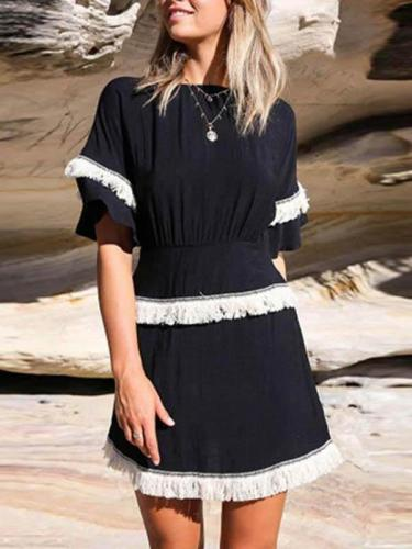 Elegant Round Neck Short Sleeve Tassel Skater Dress