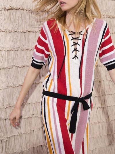 Striped Slim Fit Bikini Cover-up Dress