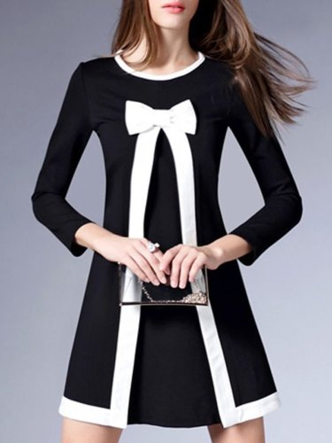 Cute Color Block Bowknot Mini Shift Dress