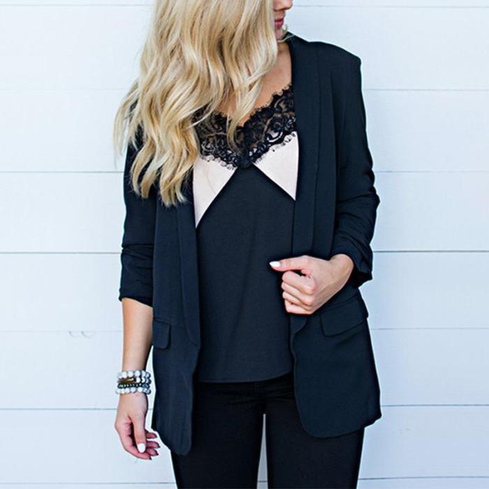 Lapel Plain Long Sleeve Fashion Blazers