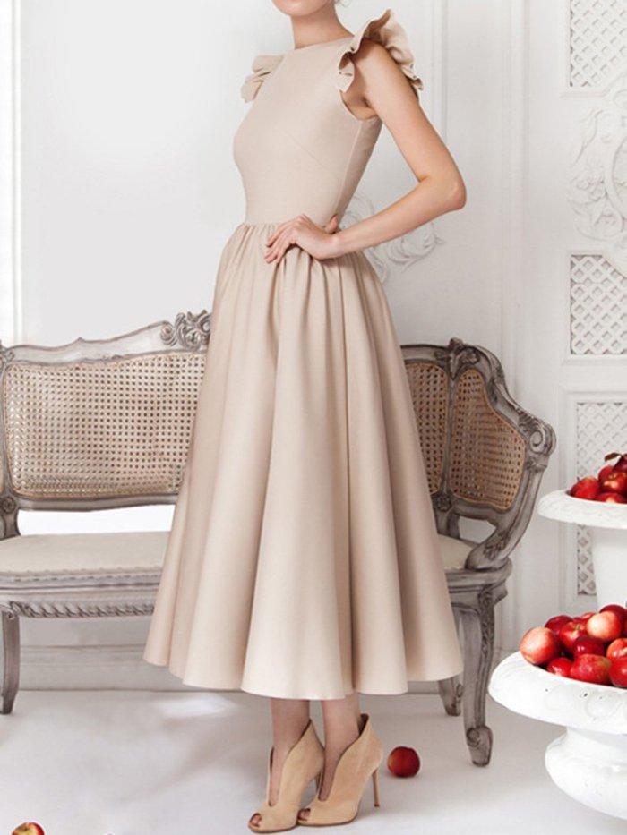 Woman Round Neck Flounce Plain Evening Dress