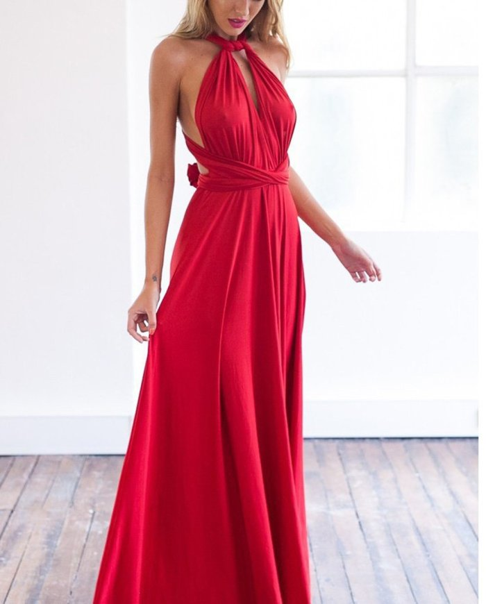 Multi-Way Plain Empire Evening Dress