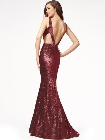V-back Sequined Mermaid Floor Evening Dress