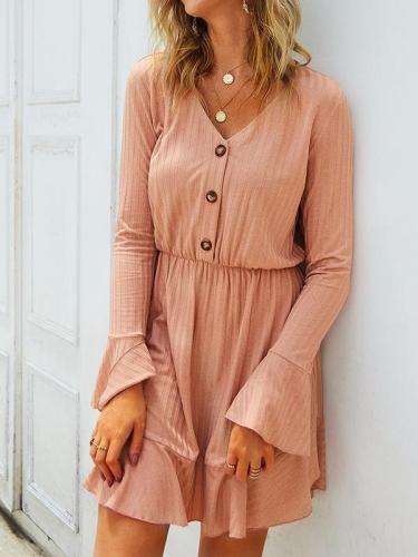 V neck button long sleeve autumn skater dresses