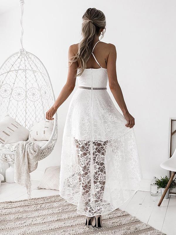 Hollow Split-joint Condole Belt Evening Dress