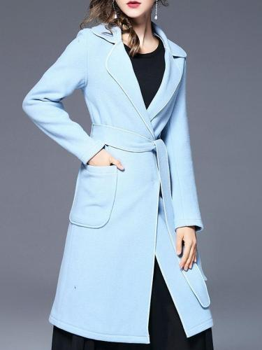 New Women Fashion Belt Long sleeve Double-faced Coats