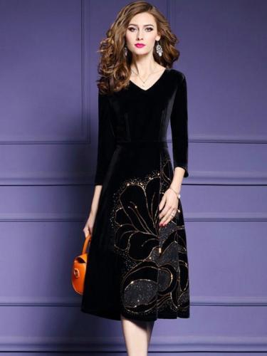 Black Printing Zipper V-Neck Long Sleeves Midi A-Line Maxi Dresses For Autumn