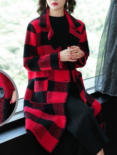 Red Grid Woman Elegant Lapel Coats
