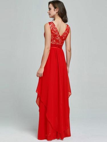 Sleeveless Lace Split-joint Evening Dress